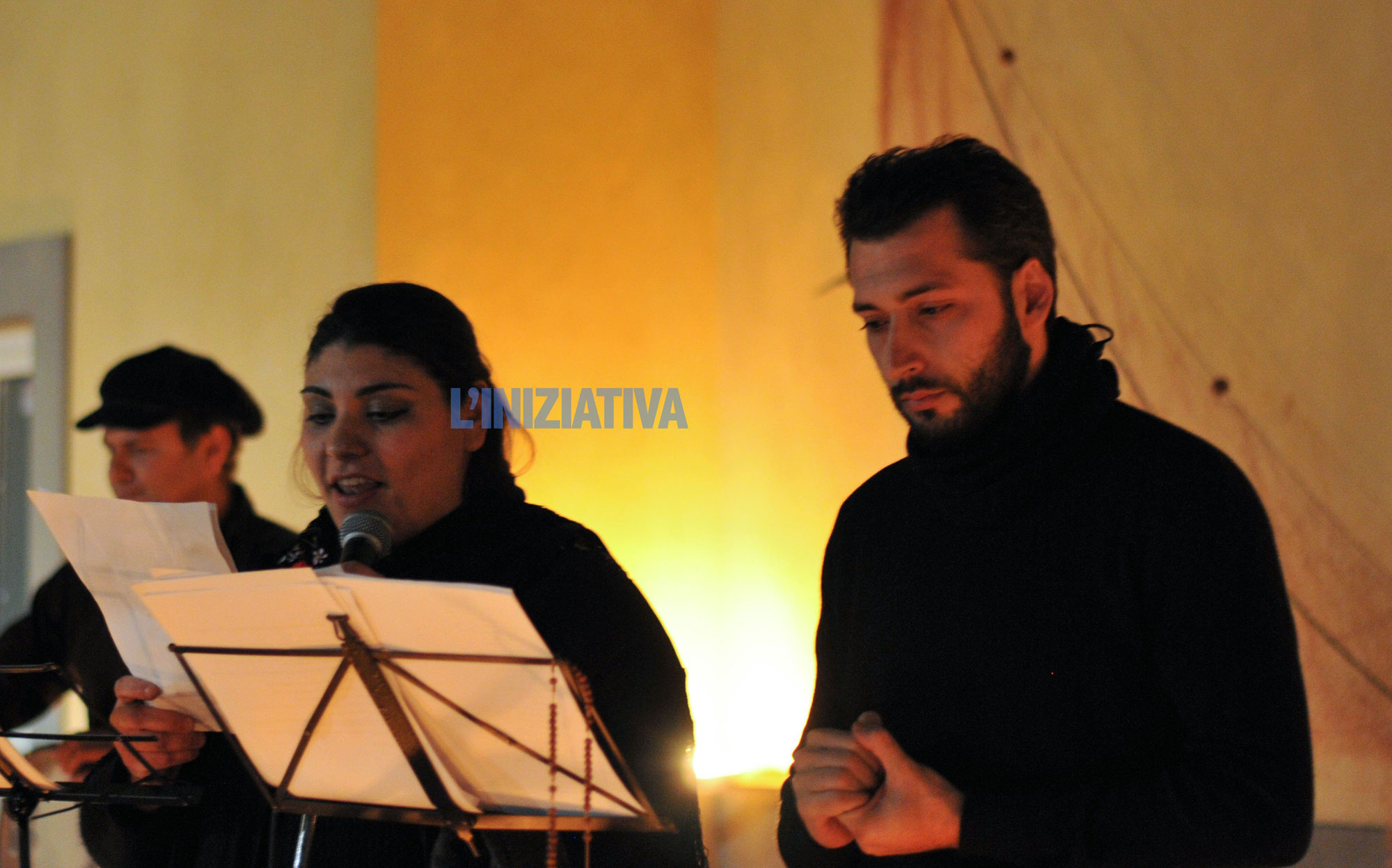 Pasquale Ioffredo (a destra), attore e presidente dell'associazione culturale En Art. - Foto di Paolo Visone)
